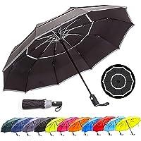 HOSA Auto Open Close Compact Portable Lightweight Automatic Repel Folding Travel Umbrella, Double Vented Windproof UV…