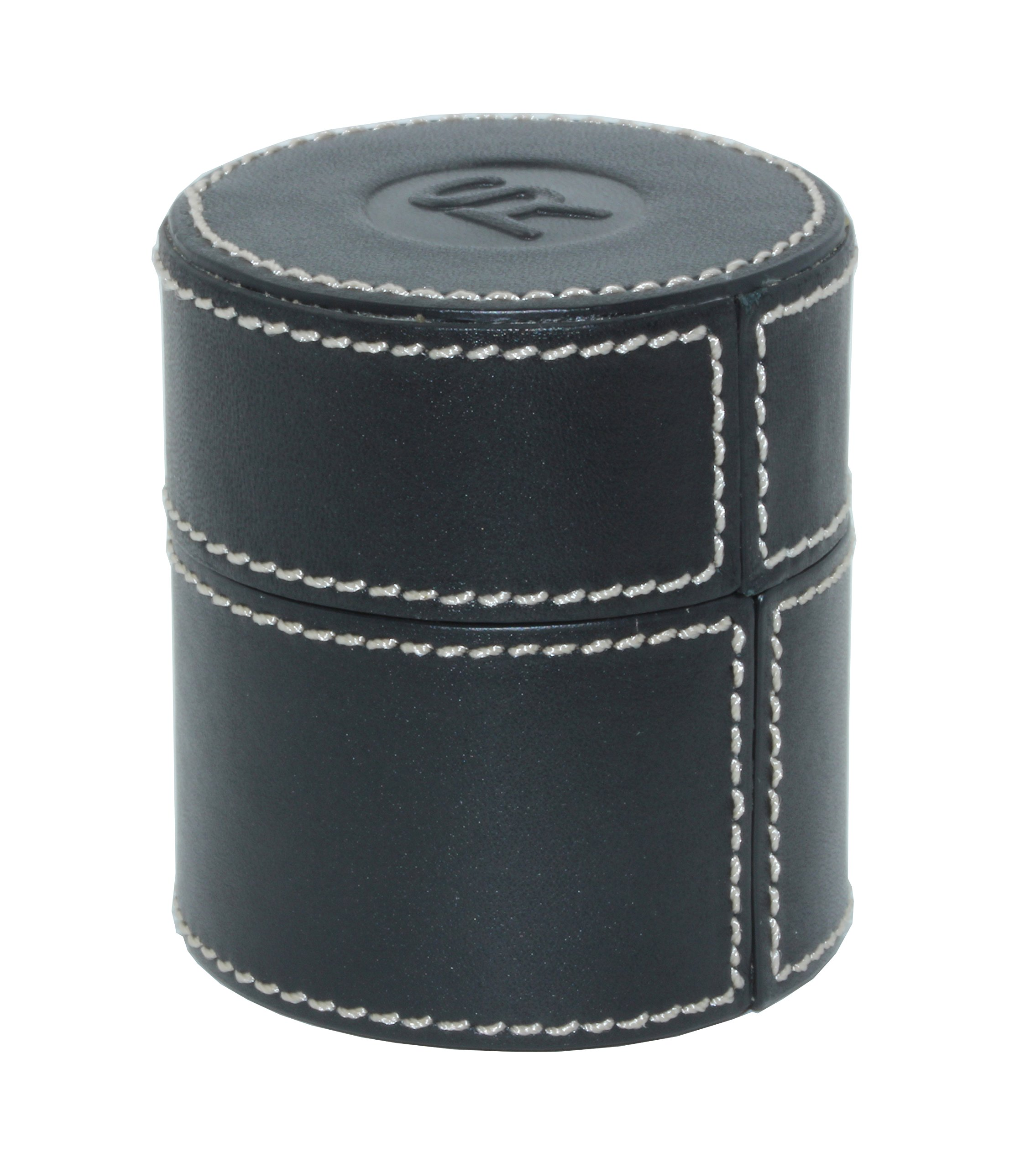 SWISS REIMAGINED Genuine Leather Jewelry Ring Loupe Safe Storage Travel Case - Black