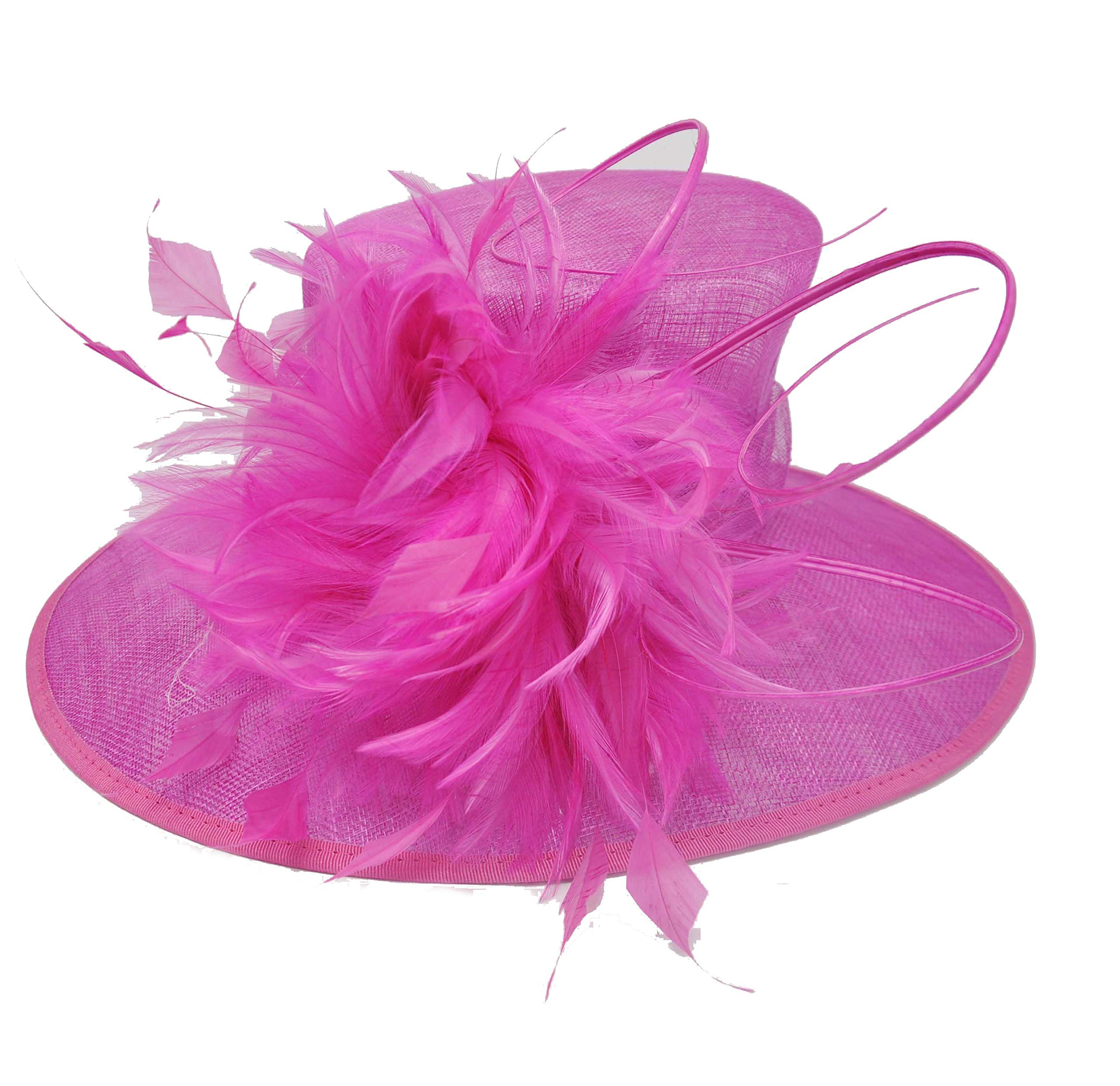 Image 0 Image 1 Image 2 Image 3 Image 4 Image 5 Church Kentucky Derby Carriage Tea Party Wedding Wide Brim Woman's Royal Ascot Hat in Solid Sinamay Hat Hot Pink