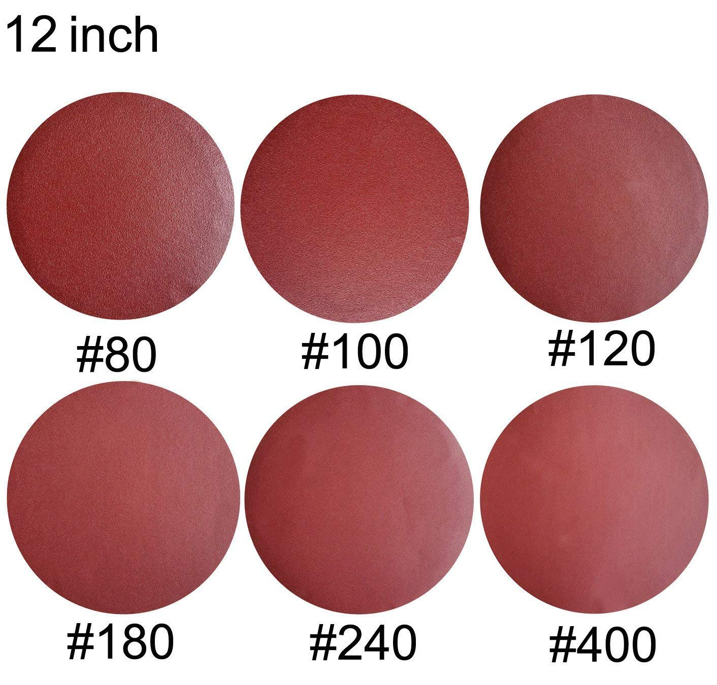 Sackorange 18 PCS 12-Inch NO-Hole PSA Aluminum Oxide Sanding Disc, Self Stick(3 Each of 80 100 120 180 240 400)