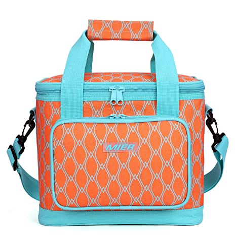 d7dbdff15e05 MIER 16 Can Large Insulated Lunch Bag for Women, Soft Leakproof Liner,  Orange