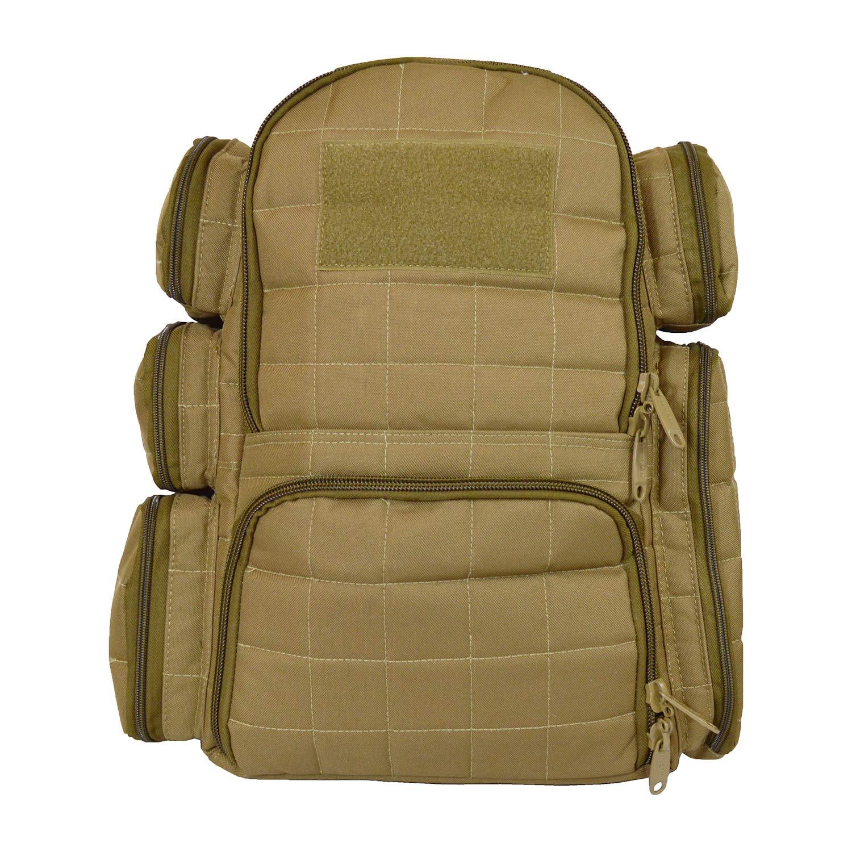 EXPLORER Backpack + Range Bag with Large Padded Deluxe Tactical Divider and 9 Clip Mag Holder - Rangemaster Gear Bag (Brown Tan Range Bag) by Explorer
