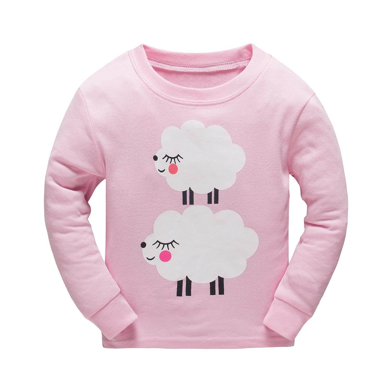 401b86b37 Boys Girls Pajamas Toddler Cotton Sleepwear T Shirt Pants Sheep Pjs ...