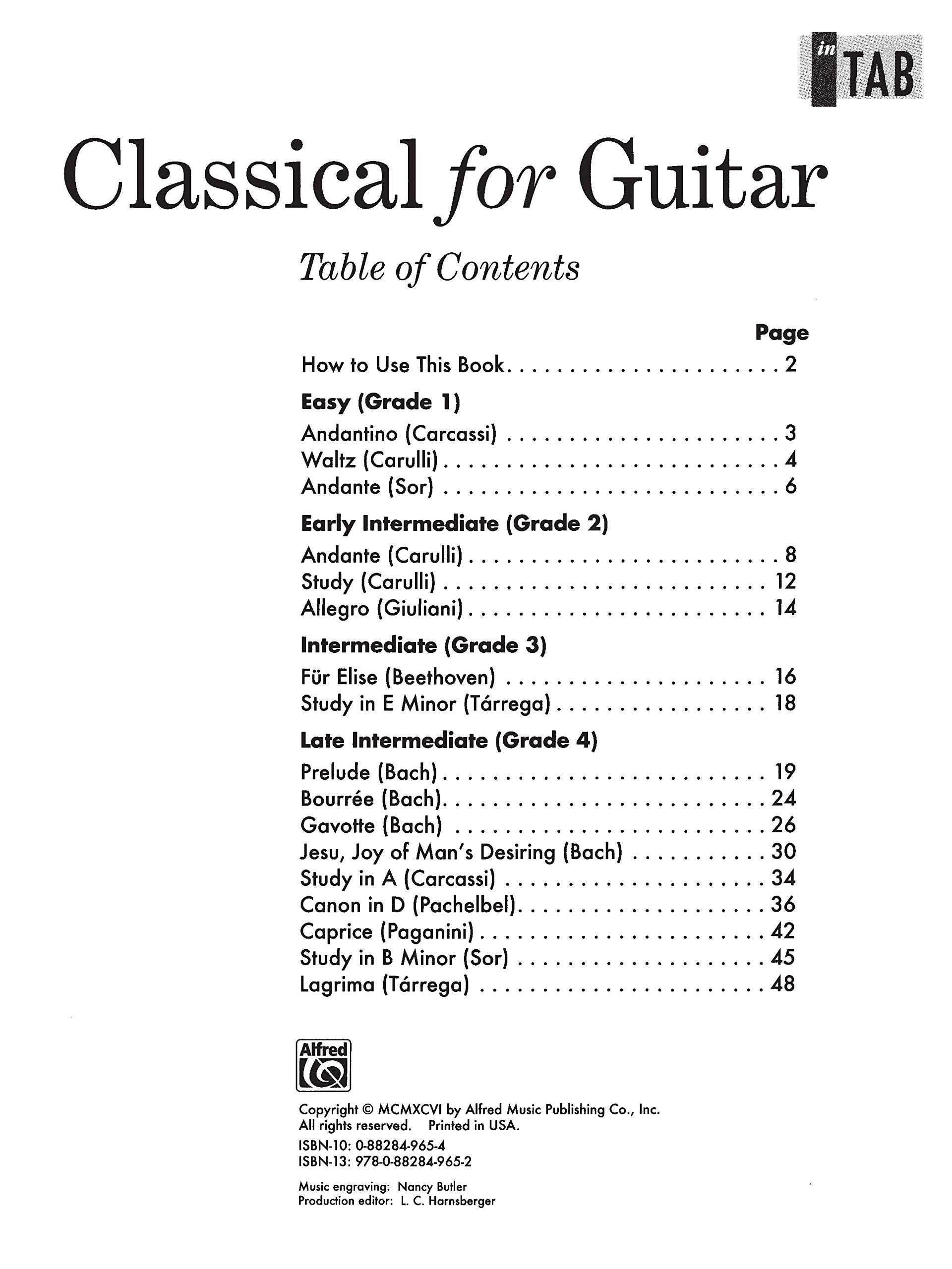 Classical for Guitar in Tab: Easy to Intermediate Classics and ...