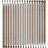 Single Pointed Knitting Needles Set (14 inch 18 pairs Bamboo Wood Carbonized) -- Yazycraft