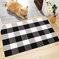 "McGuffey 100% Cotton-Buffalo Plaid Check Rug Door Mat-36"" x 24"" Black/White Checkered Hand-Outdoor/Indoor/Entry Way…"