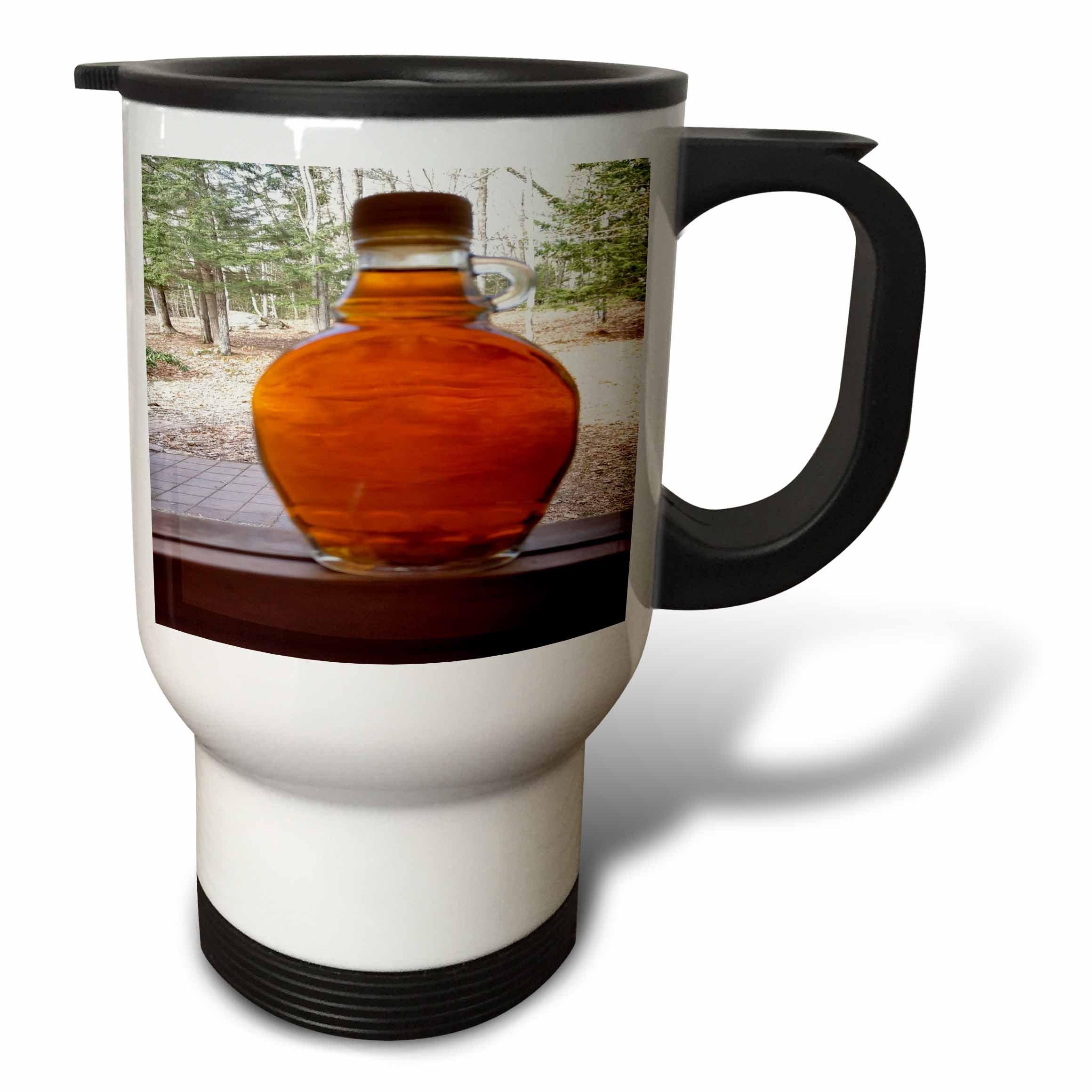 3dRose TDSwhite – Miscellaneous Photography - Maple Syrup Bottle Windowsill - 14oz Stainless Steel Travel Mug (tm_285357_1)