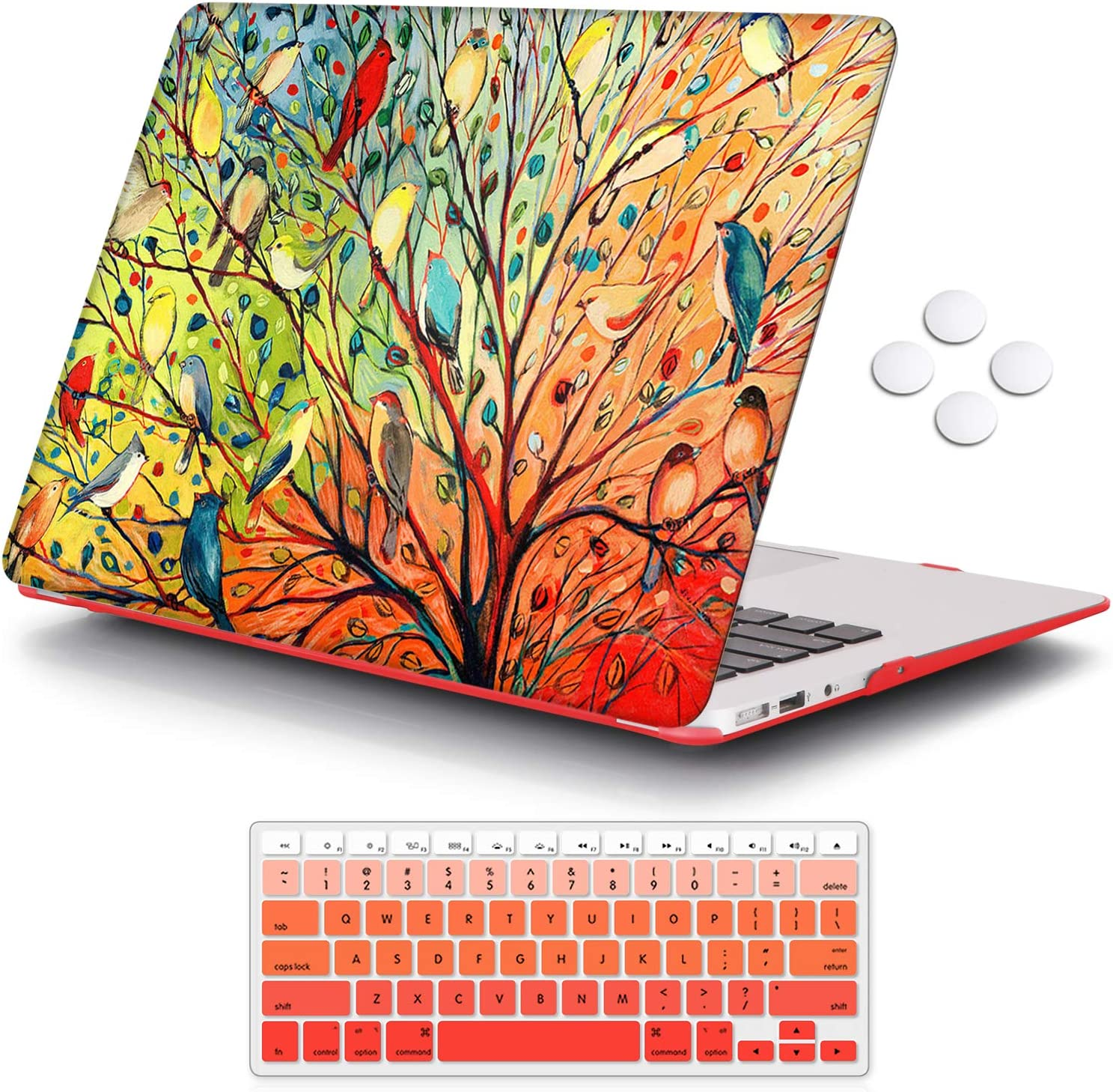 iCasso MacBook Air 13 inch Case (Release 2010-2017 Older Version), Plastic Pattern Hard Shell Protective Case & Keyboard Cover Only Compatible with MacBook Air 13 Inch Model A1369/A1466 - Birds