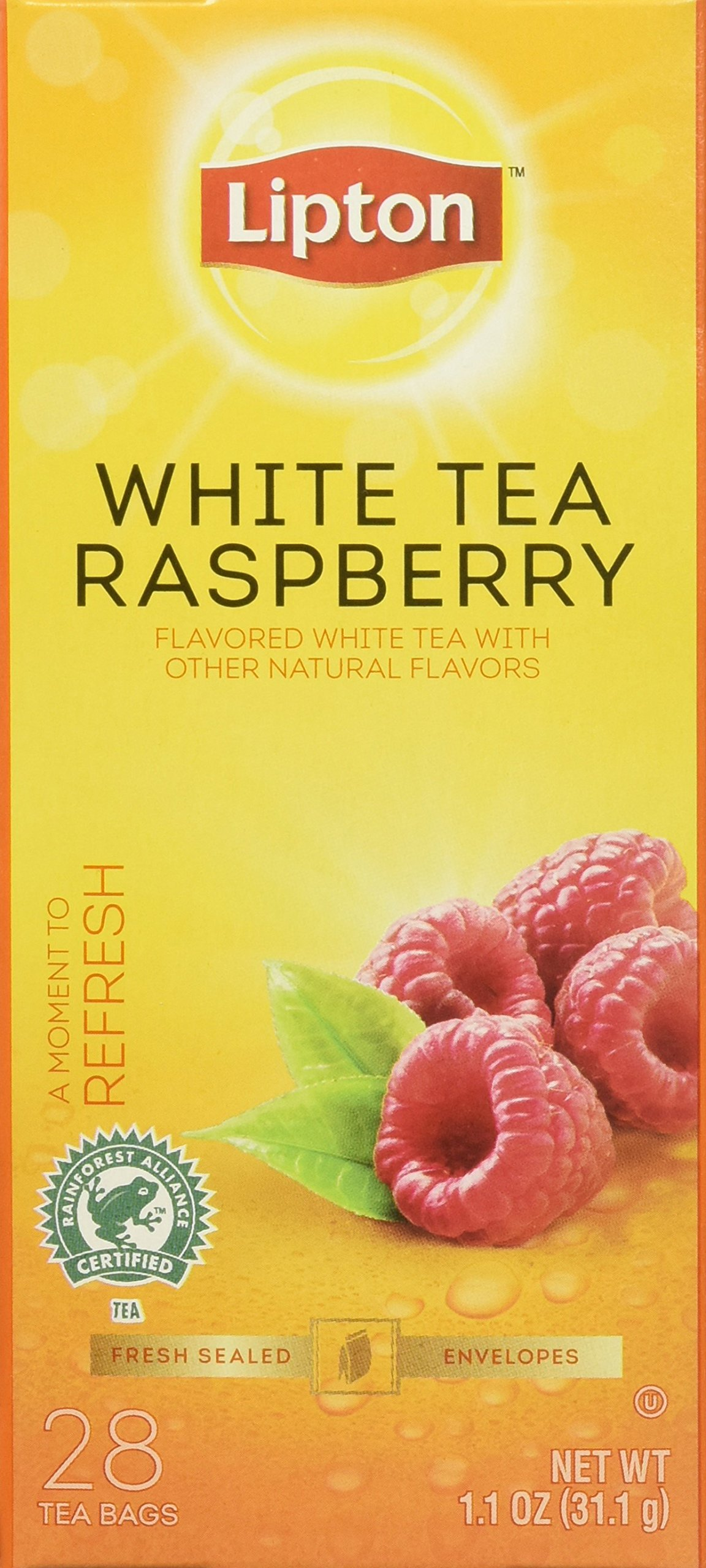 Lipton White Tea with Raspberry, 28-count (Pack of 6)