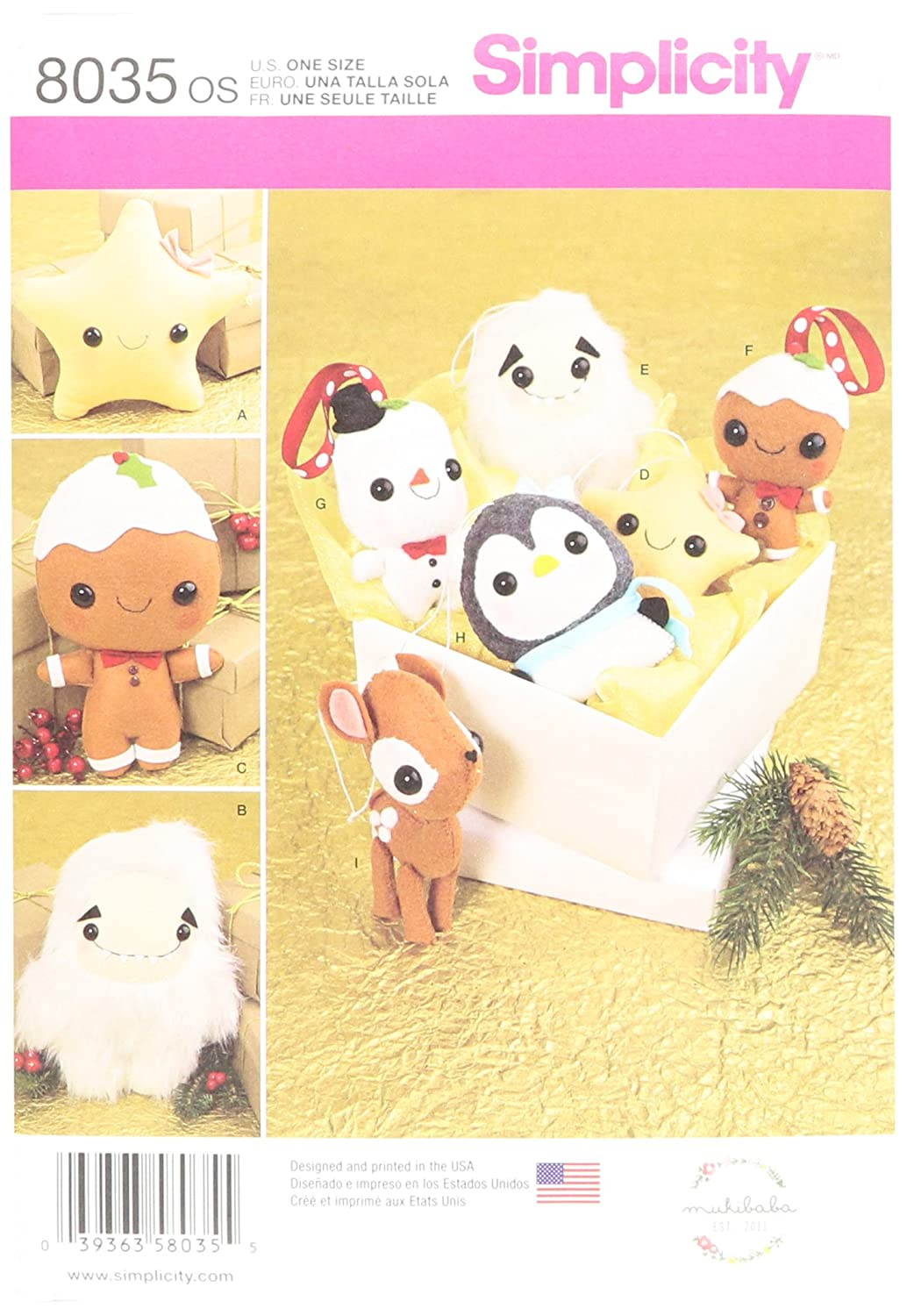 Simplicity US8035OS Patterns Stuffed Animals Ornaments Size: Os (One Size), 8035 OUTLOOK GROUP CORP