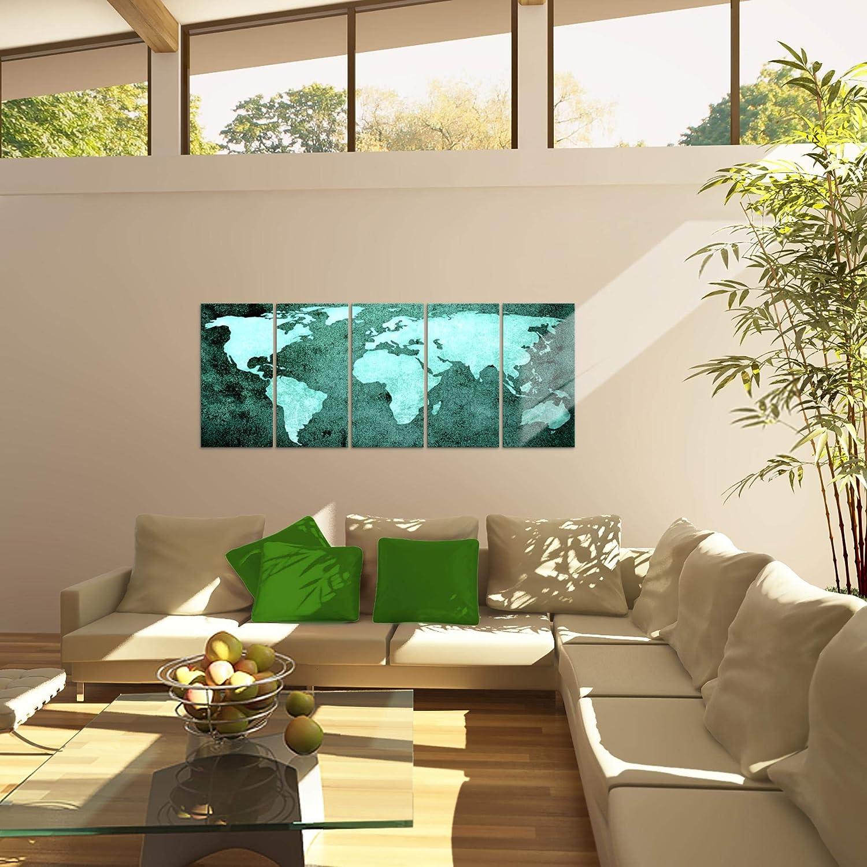 Tableau decoration murale Carte du monde 200 x 80 cm XXL Impression sur Toile Salon Appartment Marron 5 Parties pr/êt /à accrocher 101755a