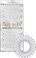 Kitsch Spiral Hair Ties, Coil Hair Ties, Phone Cord Hair Ties, Hair Coils - 8pcs, Transparent