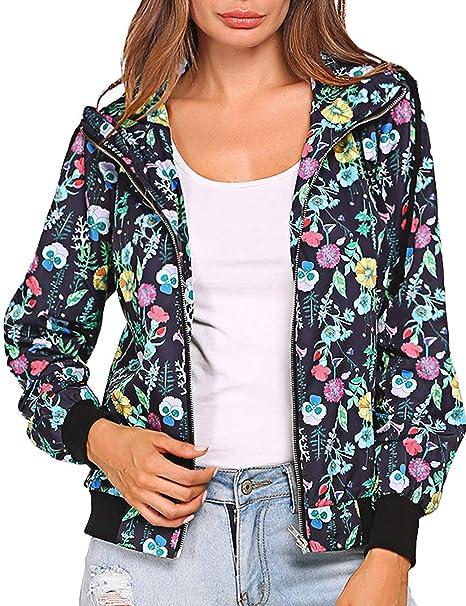 Amazon.com: beauteine para mujer Floral Print con capucha ...