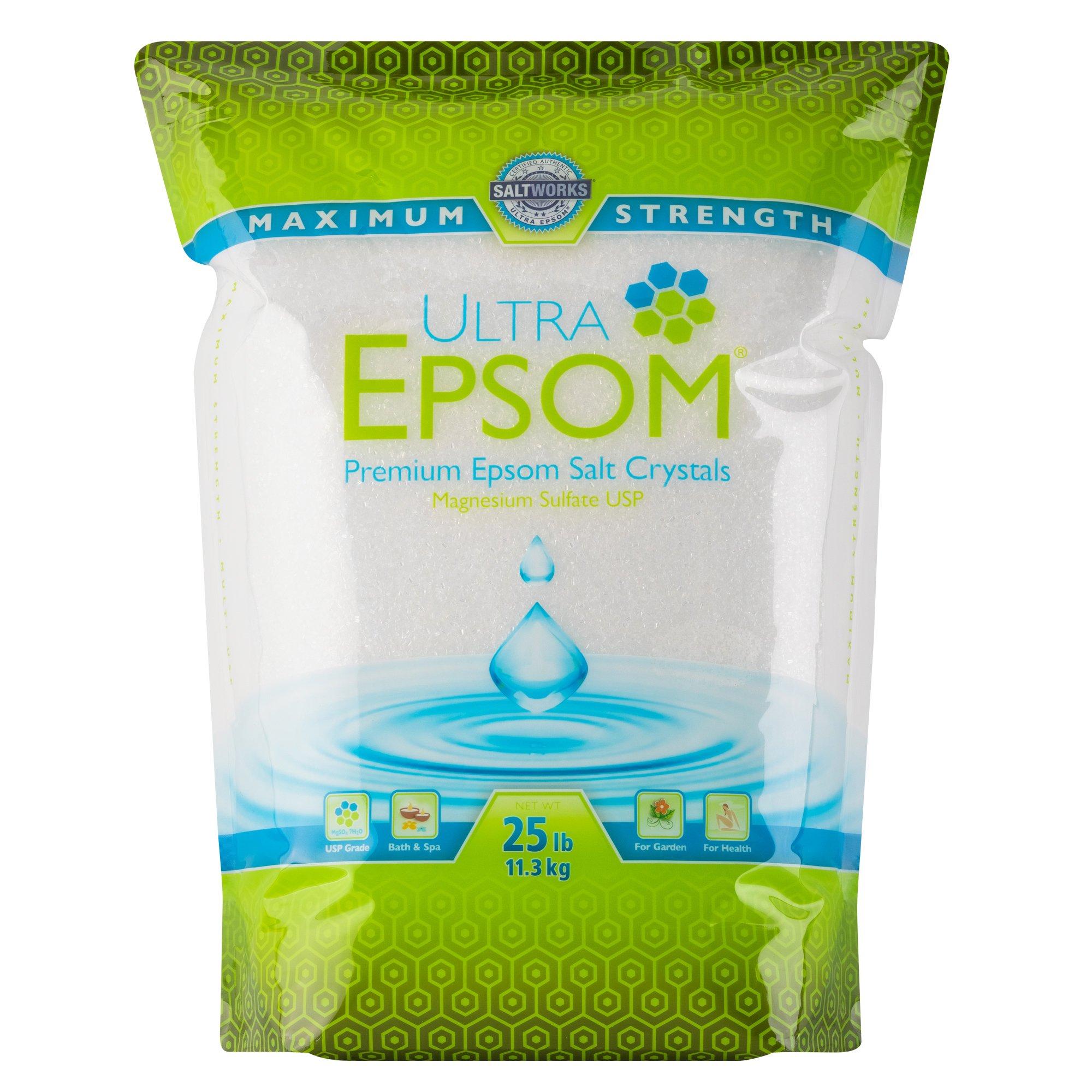 Ultra Epsom Premium Epsom Salt, Medium - 25 lb Bag by SaltWorks