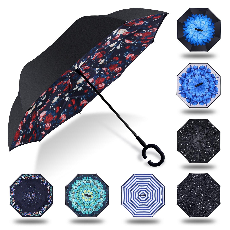 HISEASUN Winddichte Umgekehrter Regenschirm Doppellagiger Sturmsicherer Seitenverkehrter Groß Regenschirm mit C-Griff für Auto und im Freiengebrauch(Blaue Blume) yusanlanjing