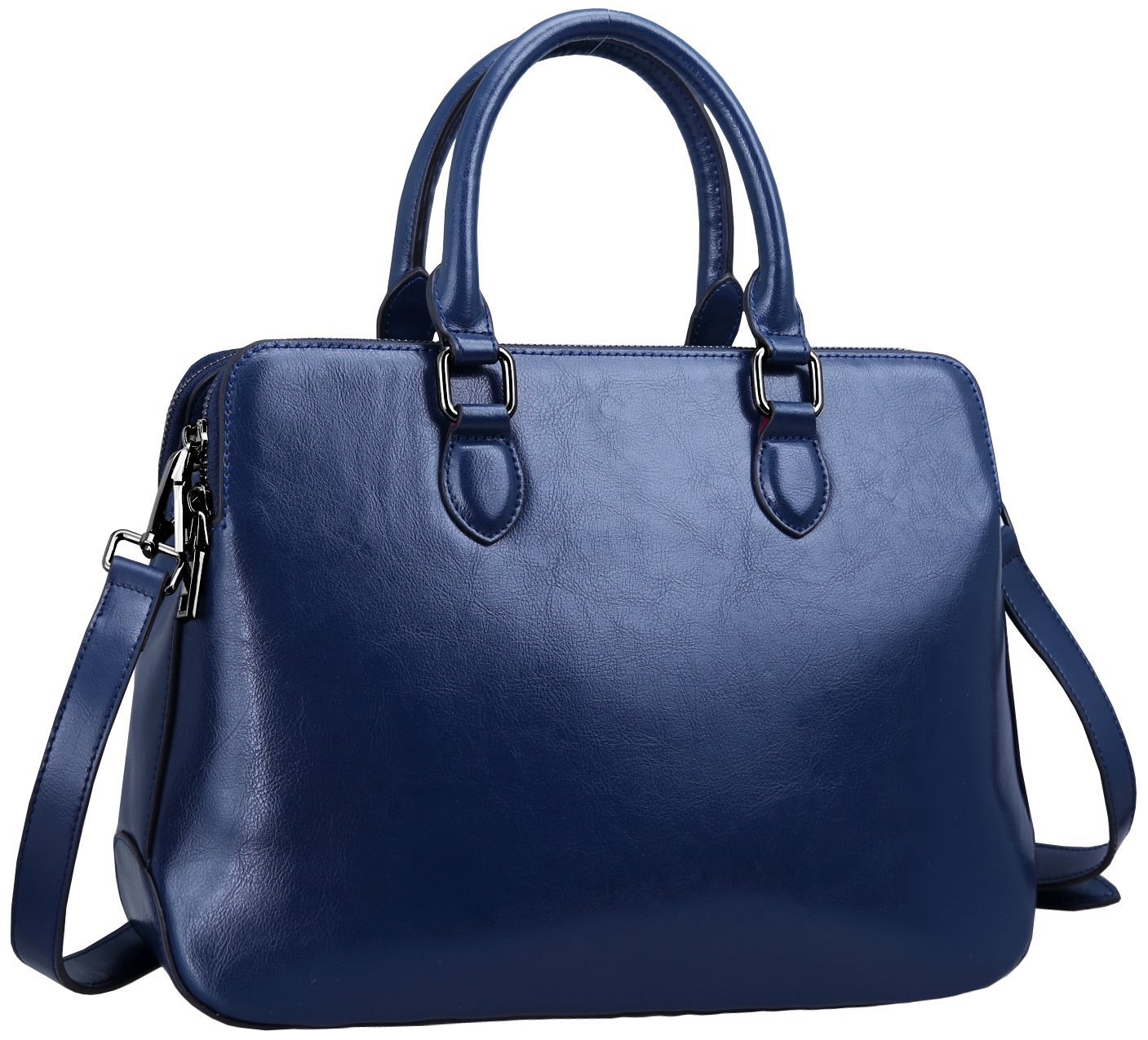 Heshe Leather Womens Handbags Totes Top Handle Shoulder Bag Satchel Ladies Purses (Dark Blue-r)