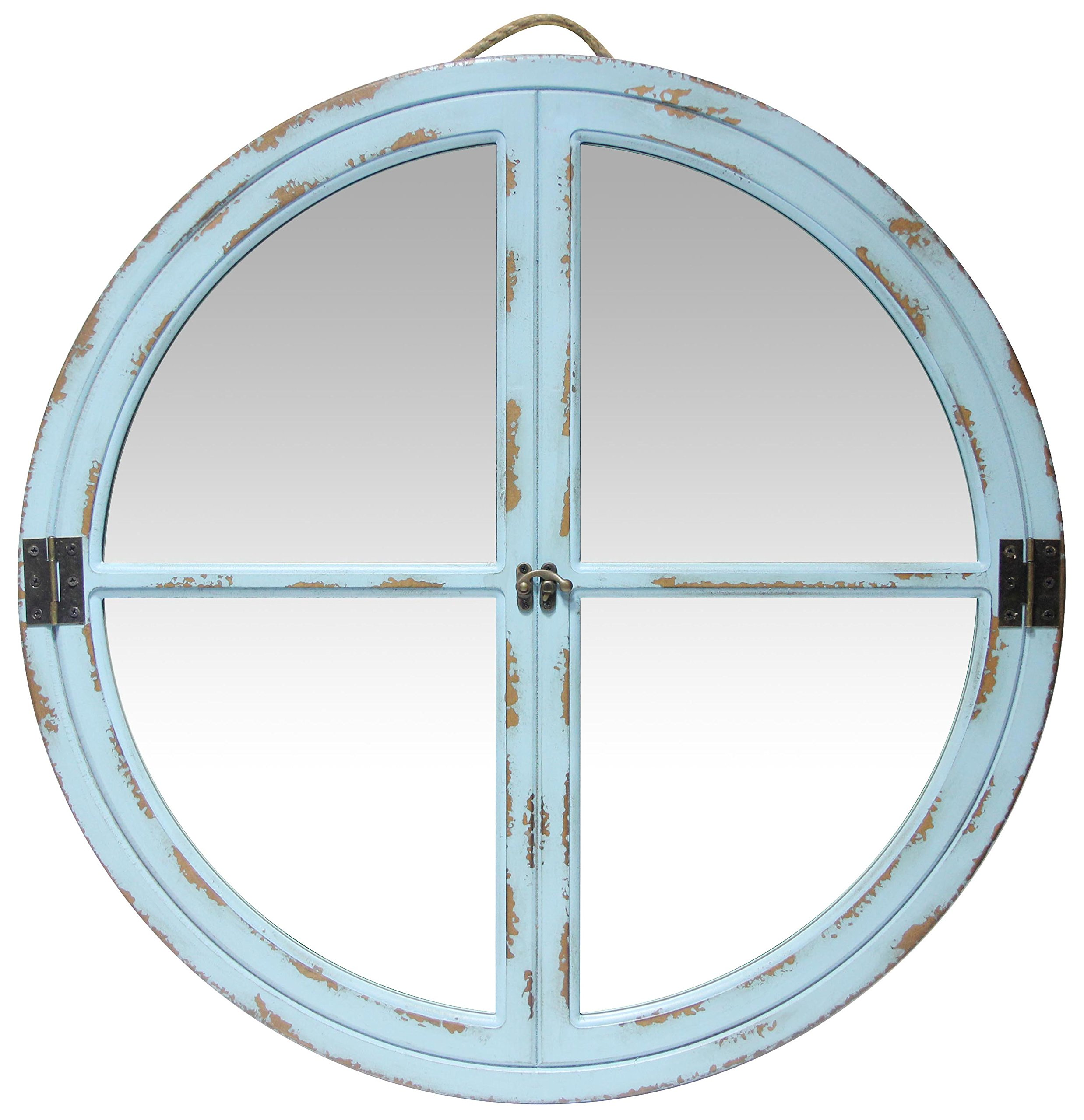Infinity Instruments Rustic Faux Window Mirror, Turquoise