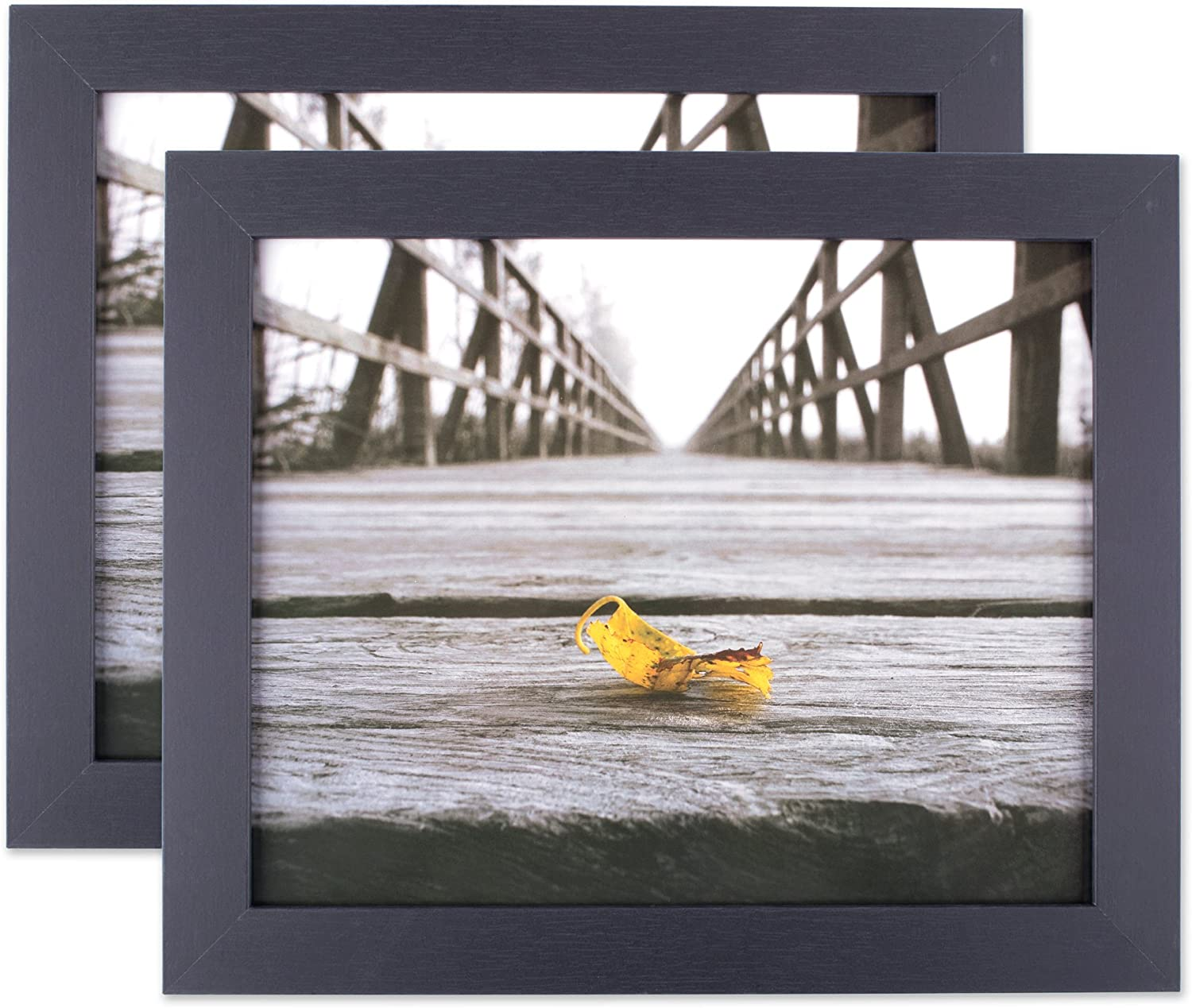 DII Black Picture Frame with Protective Glass Covering, Set of 2-for Wall or Desk Display with Hanging Hardware Included, 8x10, Black, 2 Set of