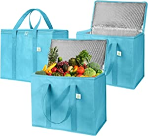 3 Pack Insulated Reusable Grocery Bag by VENO, Durable, Heavy Duty, Large Size, Stands Upright, Collapsible, Sturdy Zipper, Made by Recycled Material, Eco-Friendly (Cyan, 3)