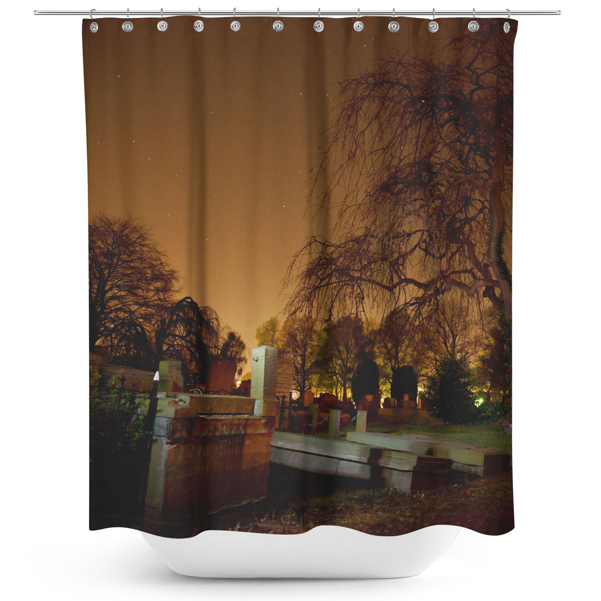 Westlake Art - Haunted Sky - Fabric Printed Shower Curtain - Picture Photography Waterproof Mildew Resistant Hook Bathroom - Machine Washable 71x74 Inch (2D9FB)