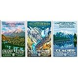 "Grand Teton, Yellowstone & Glacier National Park Posters - 3 Pack - Original Artwork - 13"" x 19"""