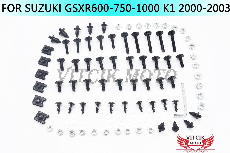 VITCIK Full Fairings Bolt Screw Kits for GSX-R750 GSX-R600 GSXR1000 K1 2000 2001 2002 2003 Motorcycle Fastener CNC Aluminium Clips Red /& Silver