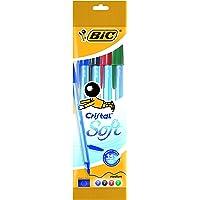 BIC Cristal Soft bolígrafos punta media (1,2 mm) - colores Surtidos, Blíster de 4 unidades