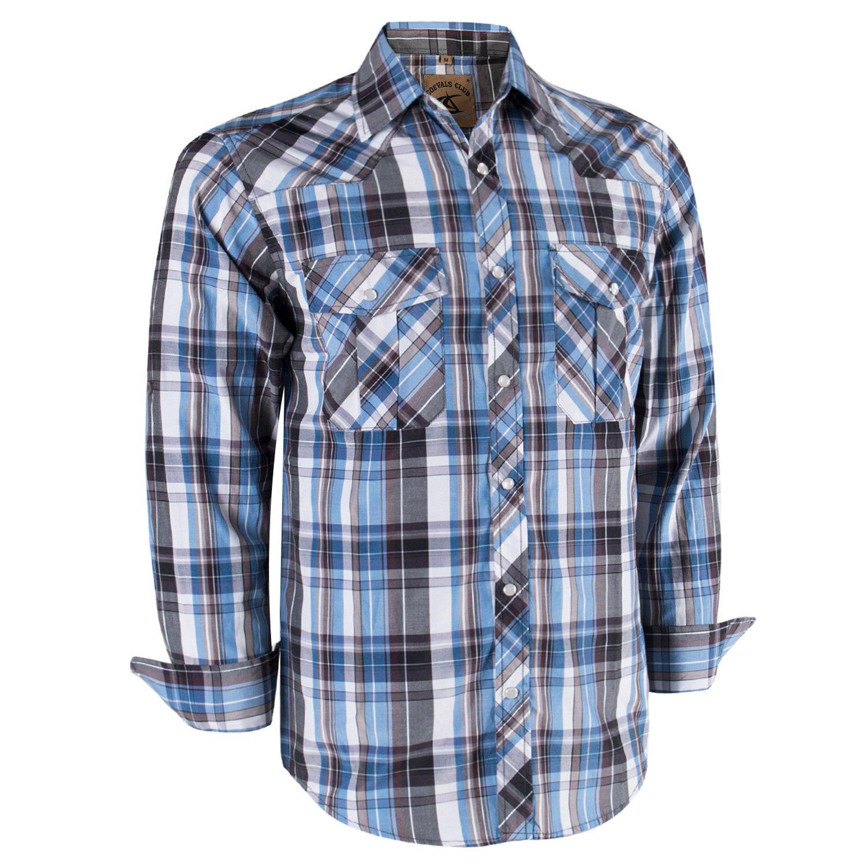 267cfb9ec5b Galleon - Coevals Club Men's Long Sleeve Casual Western Plaid Snap Buttons  Shirt (XL, 10#White,Blue)