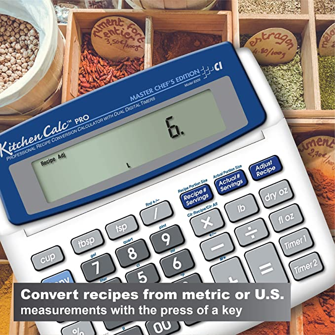 Amazon Com Calculated Industries 8305 Kitchencalc Pro Recipe Conversion And Culinary Math Calculator With 2 Digital Timers For Chefs Culinary Students Home Cooks Bakers Brewers And Bbqers Recipe Scaling Menu Planning
