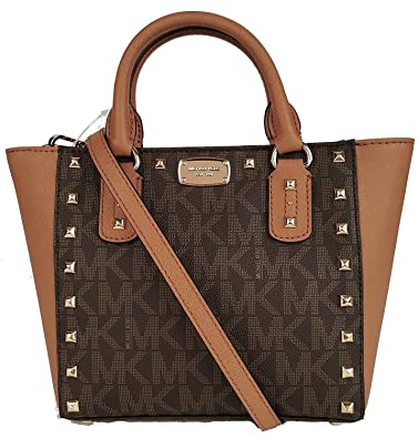 c9b239346d3c0e Michael Kors Sandrine Stud Small Crossbody Leather Handbag (Brown/Acorn)