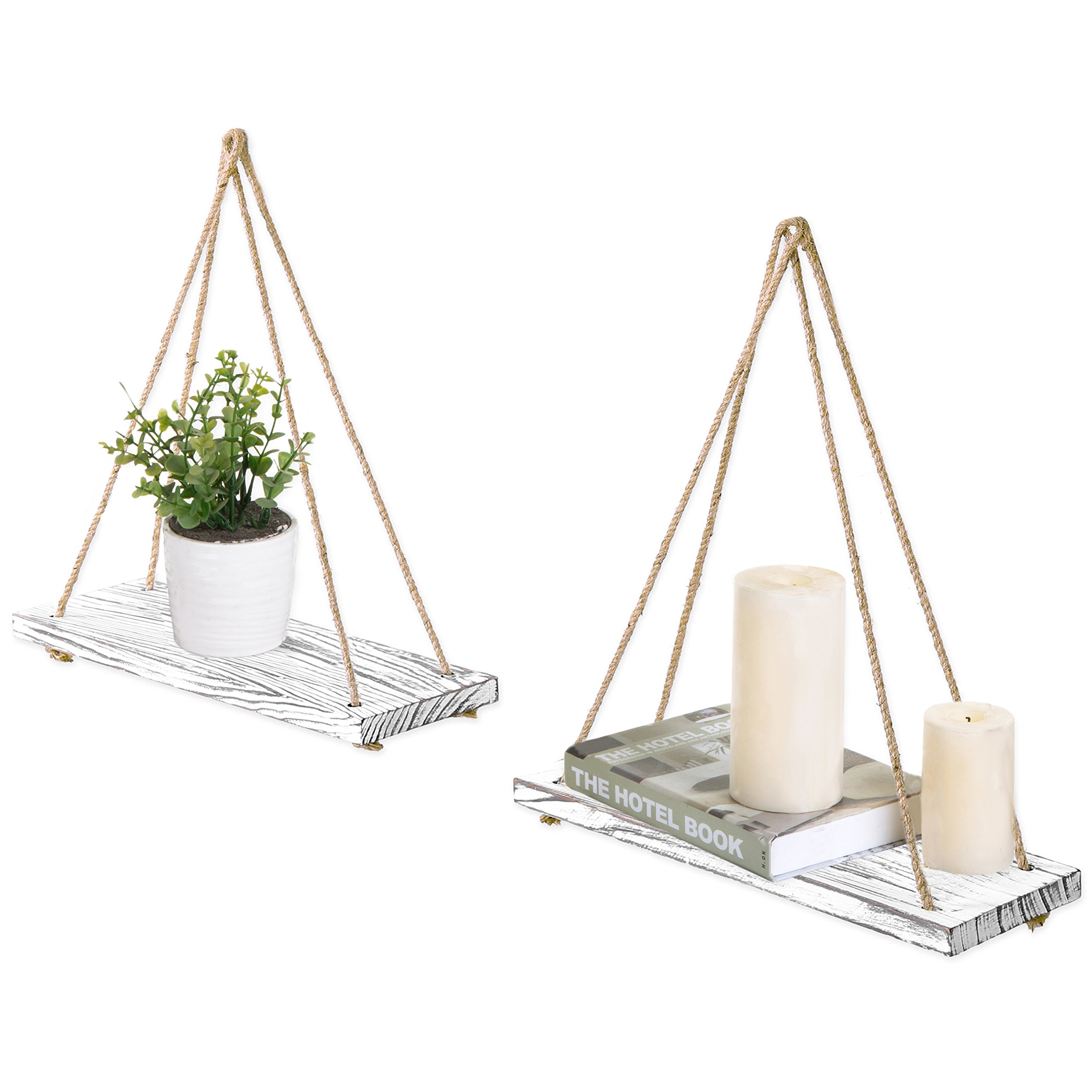 MyGift 17-inch Whitewashed Wood Hanging Rope Swing Shelves, Set of 2 by MyGift (Image #1)