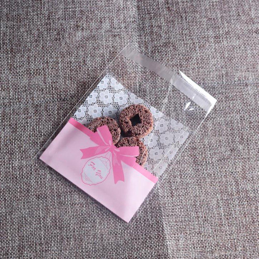Lumanuby 100X Sacs /à bonbons Sac Biscuit Transparent Sac Pochette Sachet pour Bonbon Biscuit Chocolat Friandise Sucreries Sacs /à Biscuits Sacs Translucides pour Biscuits G/âteau et Collation