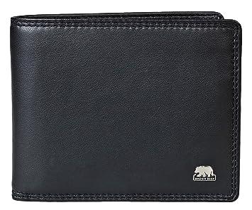 3a8b8311fc733 Brown Bear Geldbörse Herren Leder Schwarz RFID Schutz Business Doppelnaht  hochwertig Querformat Geldbeutel Männer Portemonnaie Portmonaise