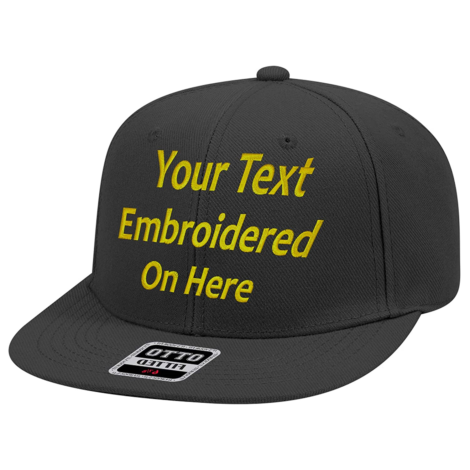 UNAMEIT Custom Text Embroidered Fitted Hat  Fitted by Size Flat Bill Otto  Cap