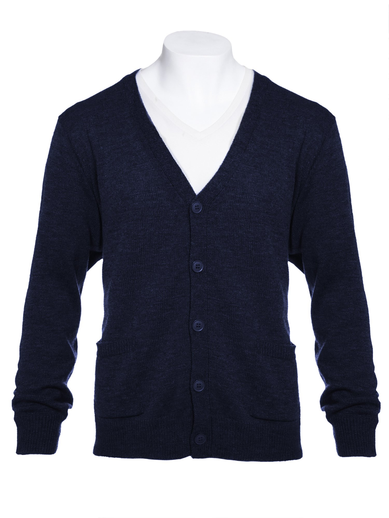 Knit Minded Mens Flat Knit Two Pocket Cardigan Navy 2X
