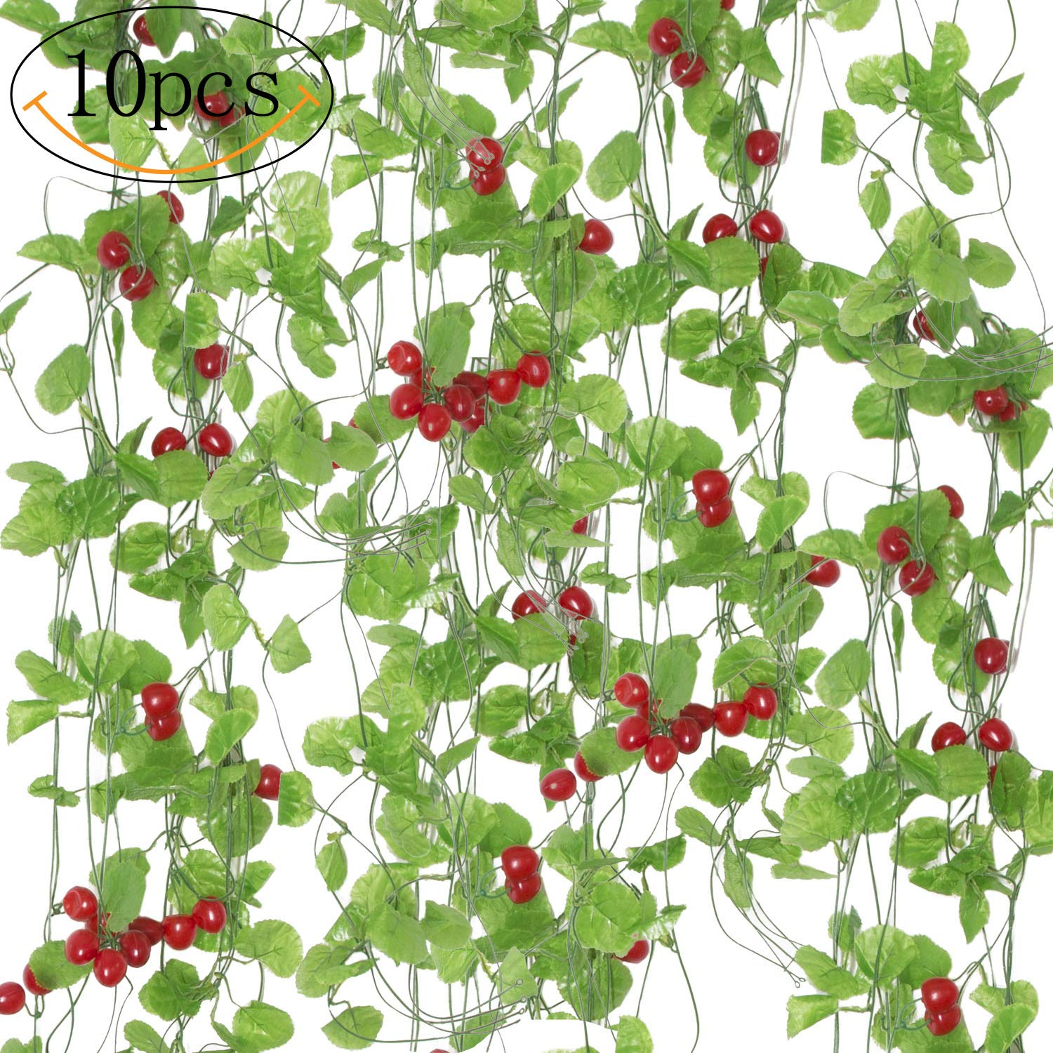 SPECOOL 10 Strands (80 Feet) Artificial Sea bream Green Leaves and Strawberry Fake Hanging Vine Plant for Wedding Party Garden Wall Decoration (Red leaves)
