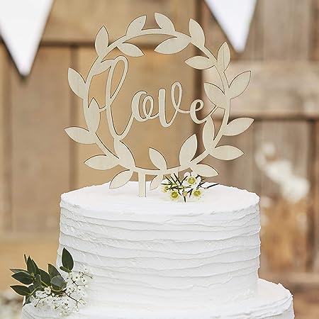 Ginger ray wooden love and vine wedding cake topper circle ginger ray wooden love and vine wedding cake topper circle decoration rustic country junglespirit Choice Image