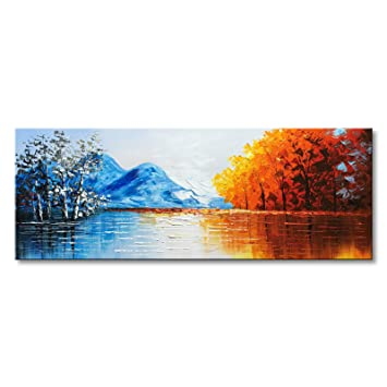 Hand Painted Landscape Oil Painting On Canvas Textured Lake Scenery Wall Art Modern Artwork