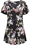 Helloacc Womens V Neck Short Sleeve Vintage Floral Printed Flowy Tunic Tops 2018