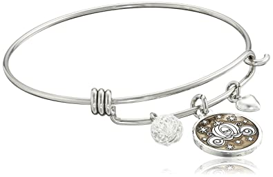 """83ecbf6da Disney Stainless Steel Catch Bangle with Silver Plated Cinderella Carriage  Charm """"If You Keep"""