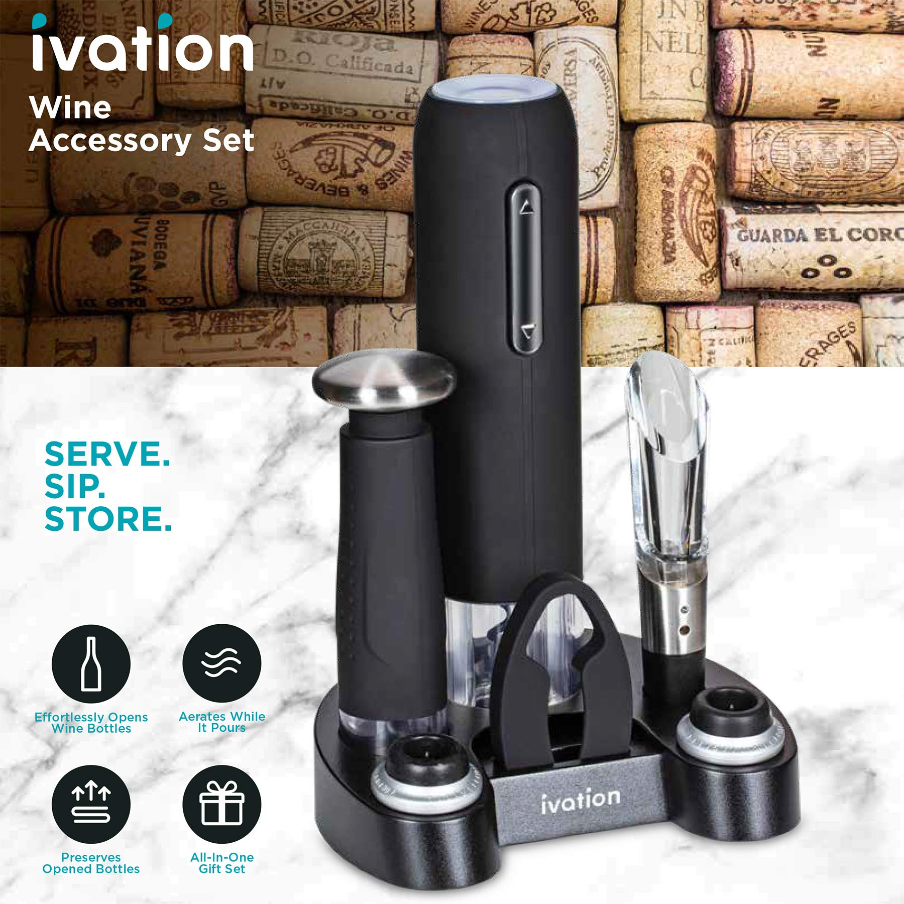 Ivation Wine Gift Set, Includes Electric Wine Bottle Opener, Wine Aerator, Vacuum Wine Preserver, 2 Bottle Stoppers, Foil Cutter & Charging Base by Ivation (Image #5)
