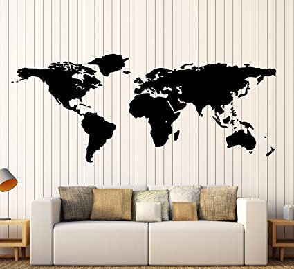 Amazon world map outline continents country nations europe world map outline continents country nations europe asian africa mural wall art decor vinyl sticker p017 gumiabroncs Choice Image
