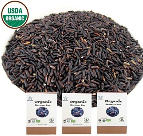 Usda Certified Organic Riceberry Rice From Thailand Black Healthy Natural Purple Long Grain 3 Lb (48 Oz) by Blue Orchid