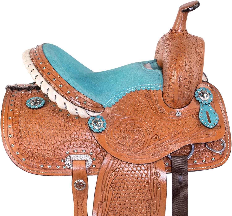 Western Barrel Racing Premium Leather Youth Child Pony Horse Saddle Size 12 to13