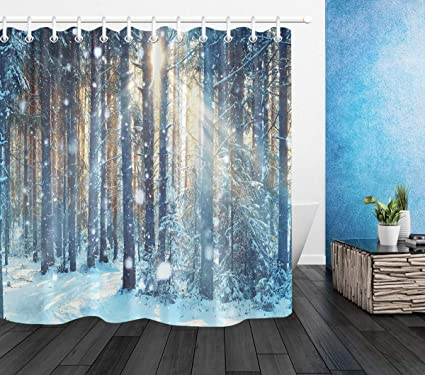 LB Winter Scene Shower CurtainWhite Snow On Tree Branch With Sunlight Art Print Forest
