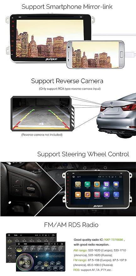 Pumpkin 8 Pulgadas 1024*600 Quad Core 2 Din 1080P HD Android 5.1 Reproducto De DVD Con Bluetooth Para Jetta(2010-2014), Golf GTI(2010-2012) Apoyo GPS ...