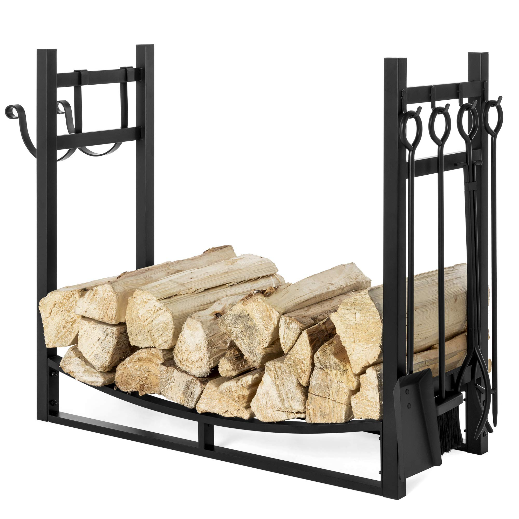 Best Choice Products 43.5in Steel Firewood Log Storage Rack Accessory for Fire Pit, Fireplace w/Kindling Holder by Best Choice Products
