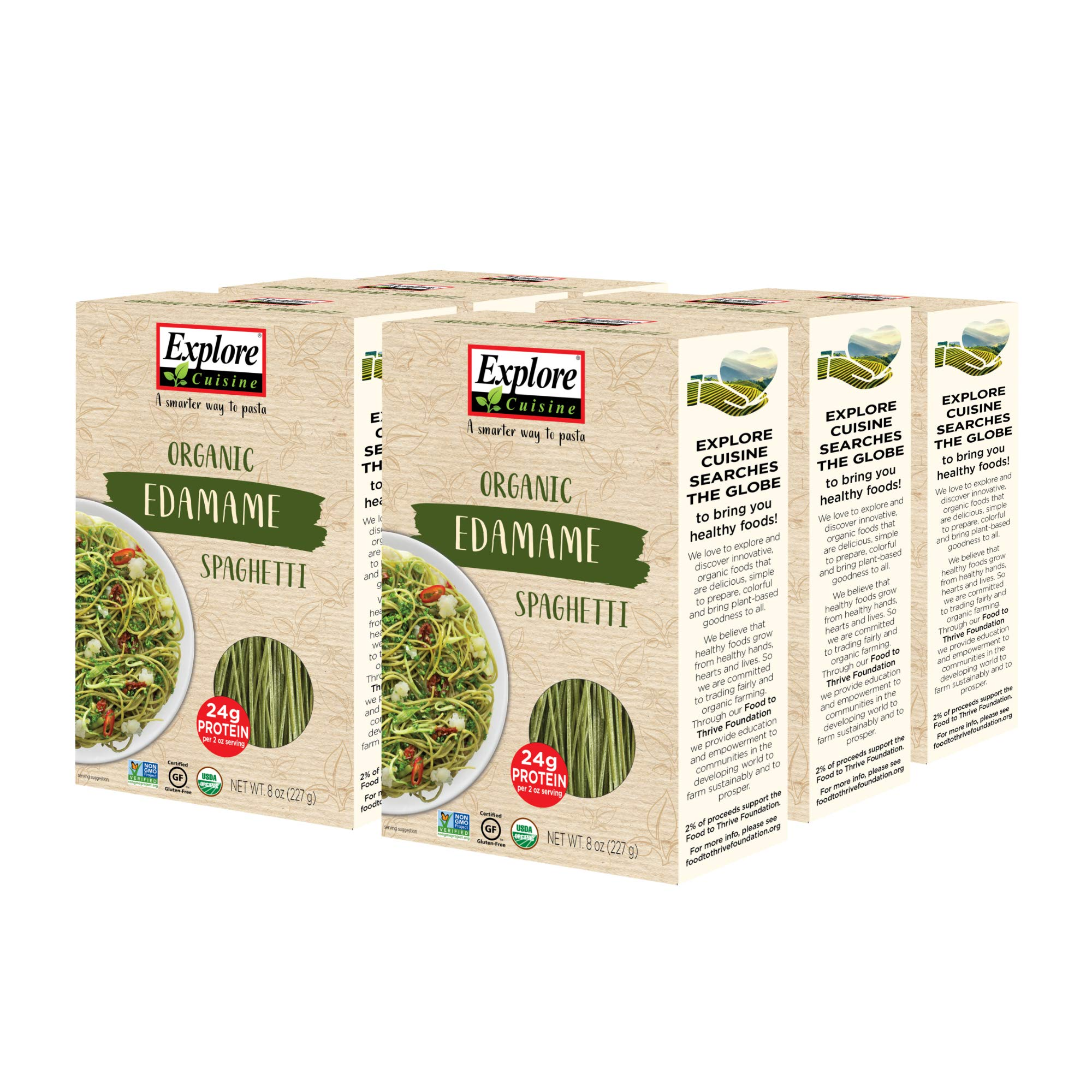 Explore Cuisine Organic Edamame Spaghetti (6 Pack) - 8 oz - Easy to Make Gluten-Free Pasta - High in Plant-Based Protein - USDA Certified Organic, Non-GMO, Vegan, Kosher - 24 Total Servings