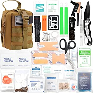 Survival Kit 268 Pieces Survival Gear Emergency Kit Trauma Bag MOLLE System All-Purpose Portable Compact First Aid Kits for Minor Cuts, Scrapes, Sprains & Burns, for Home, Travel, Camping and Hiking
