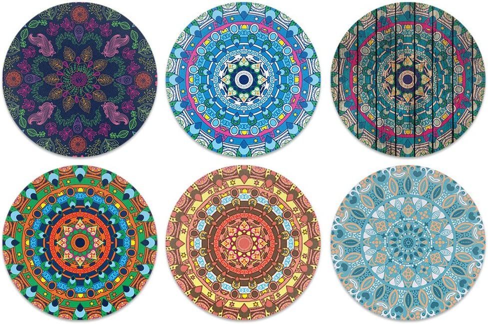CARIBOU Coasters , Bohemian Mandala One Design Absorbent ROUND Fabric Felt Neoprene Coasters for Drinks, 6pcs Set
